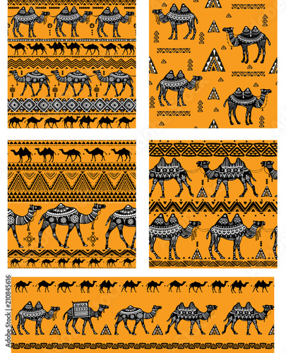 Obraz na plátně  Set of Seamless pattern with camels