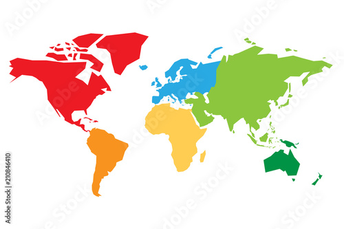 Fotomural  World map divided into six continents