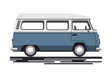 Retro Van In A Flat Style. Iso...