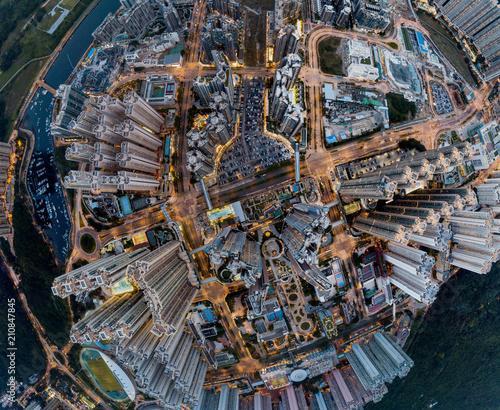 Photo  Panorama image of Tseung Kwan O City in Hong Kong from aerial view
