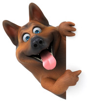 German Shepherd Dog - 3D Illustration