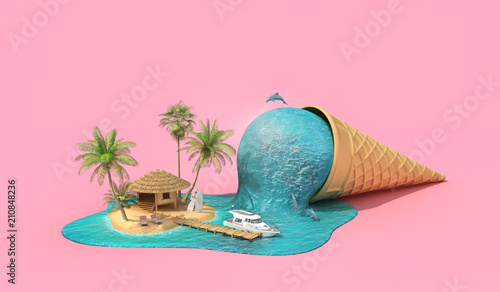 Travel concept. Relaxation island in the sea as melting ice cream. 3d illustration