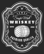 Whiskey Barrel Label. Old Styl...