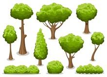 Cartoon Bush And Tree Set. Vec...