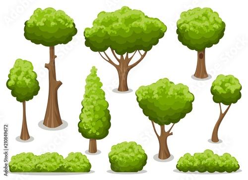 Fotografía Cartoon bush and tree set