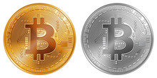 Golden And Silver Bitcoin Coins
