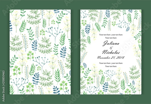 Watercolor Background In Nature Style Green Invitation Card