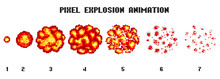 Pixel Art Explosions. Game Ico...