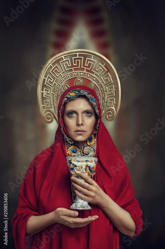 Young orthodox prayer portrait Wallpaper Mural