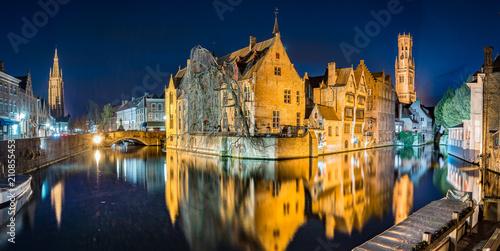 Wall Murals Bridges Historic city of Brugge in twilight, Flanders, Belgium