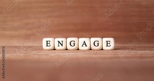 Fototapeta Word ENGAGE made with wood building blocks