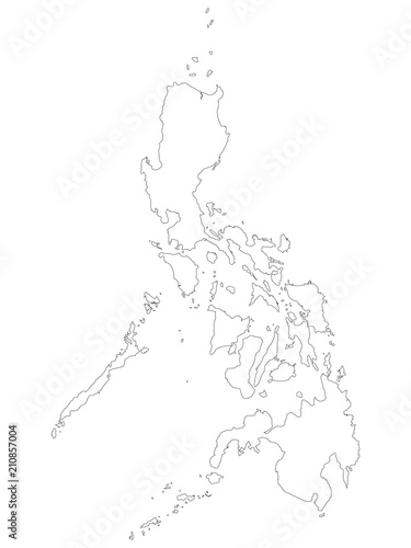 Philippines Map Black And White.Philippines Map Of Black Outline Map On White Background Of