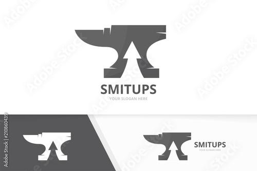 Vector smith and arrow up logo combination Canvas Print
