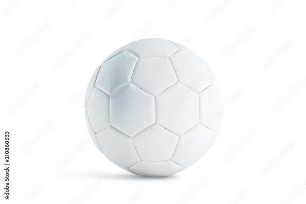 Photo  Blank white leather soccer ball mock up, front view, 3d rendering