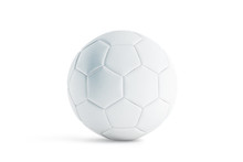 Blank White Leather Soccer Ball Mock Up, Front View, 3d Rendering. Empty Football Sphere Mockup, Isolated. Clear Sport Bal For Playing On The Clean Field Template