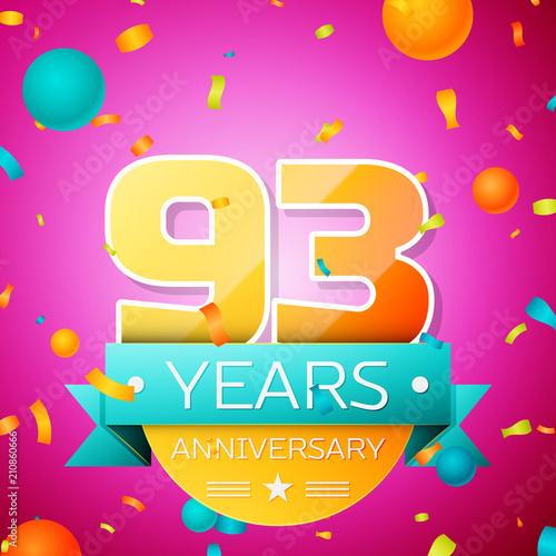Fotografie, Obraz  Realistic Ninety three Years Anniversary Celebration design banner