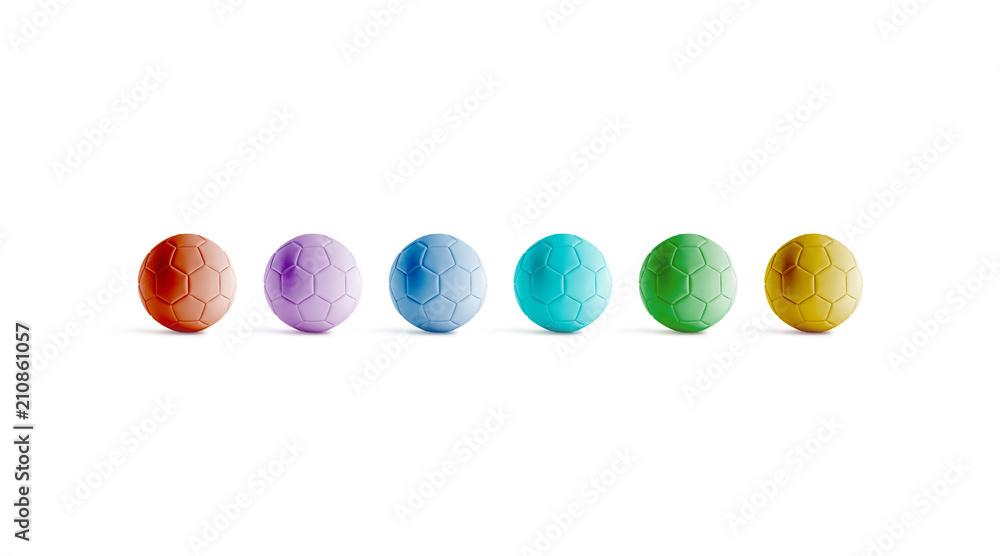 Photo  Blank varicoloured soccer ball mock ups, front view, 3d rendering