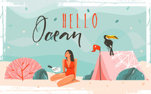 Hand Drawn Vector Abstract Cartoon Summer Time Graphic Illustrations Background Scene With Sea Sand Beach,blue Waves,toucan Bird,pink Bohemian Tent,girl Character And Hello Ocean Typography Quote