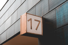 Number 17 Door Sign On Darken Facade