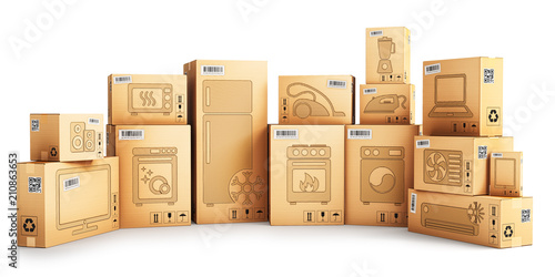 Shopping, purchase and delivery concept, cardboard boxes with household applianc Canvas Print
