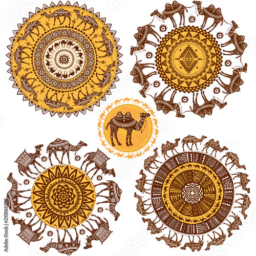 Obraz na plátně  Set of Round Ornament Pattern with camels