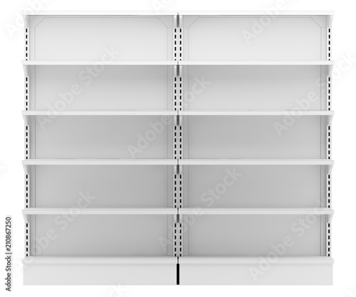 Fotografía  empty supermarket shelves isolated on white background
