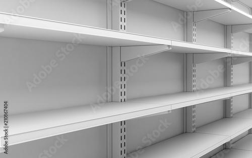 Fotografía  closeup empty white supermarket shelves