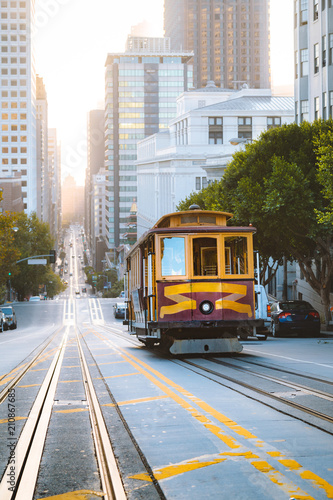 Historic San Francisco Cable Car on California Street at sunrise, California, USA