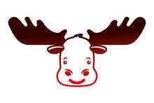 Cartoon Moose Head Portrait Wild