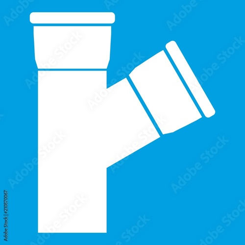 Fototapeta Plastic pipe connection icon white isolated on blue background vector illustration obraz na płótnie