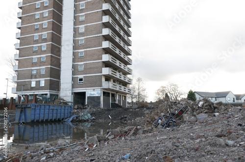 Derelict block of flats in Gorton, Manchester Canvas Print