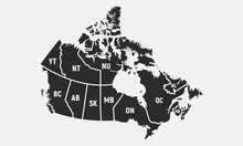 Canadian Map With Short Provinces And Territories Names. Canada Background. Vector Illustration