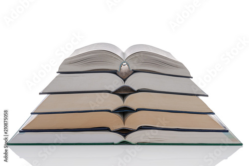 Open hardback books stack isolated on white Tapéta, Fotótapéta
