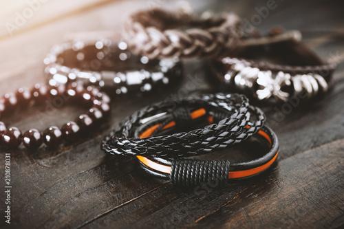 Fotomural  leather bracelets for men