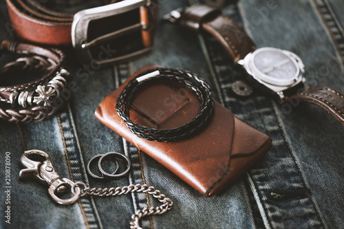 black braided leather bracelet Fototapeta