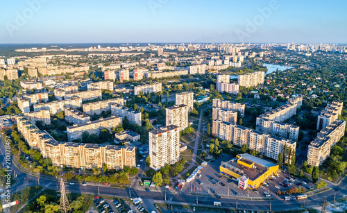 In de dag Centraal Europa Aerial view of Raiduzhnyi district of Kiev, Ukraine