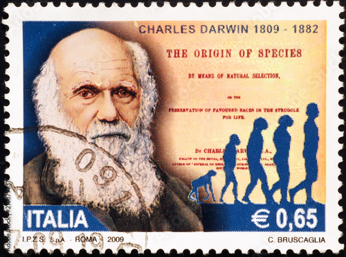 Canvas Print Charles Darwin celebrated on italian postage stamp