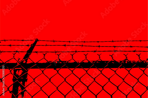 vector no entry barbed stainless steel wire fence silhouette Wallpaper Mural