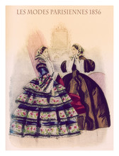1856 Fashion, French Magazine Les Modes Parisiennes Presents Two Young Ladies Standing Indoor  With Fancy Cloths And Hairdressing