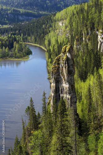 Foto op Aluminium Pistache Landscape - wooded canyon of the northern river with rocks, a top view (the Usva river in the Middle Urals, Russia)