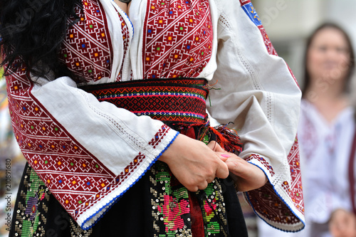 Beautiful traditional Romania costumes from Dobrogea , Romania Tapéta, Fotótapéta
