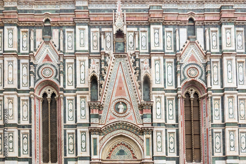 Fotografie, Obraz  A close-up of the gothic marble facade of the Florence Duomo Cathedral in Italy
