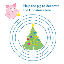 "Round Puzzle For Children "" Help The Pig To Reach The Christmas Tree."" Labyrinth. Symbol Of The New Year In The Chinese Calendar. 2019. Vector."