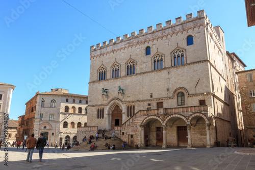 Canvas Prints Artistic monument Palazzo dei Priori in Piazza IV Novembre (square) in Perugia, Umbria, Italy