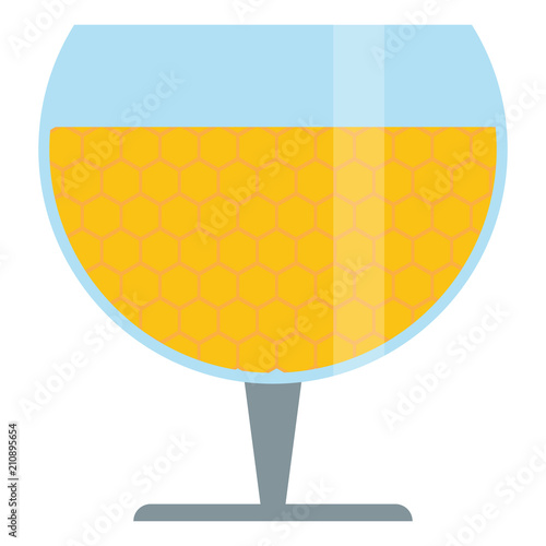 Fotografie, Obraz Wineglass with mead,sweet alcoholic drink made from honey,vector image, flat des