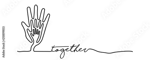 Fototapeta Hand tree web banner in single line style