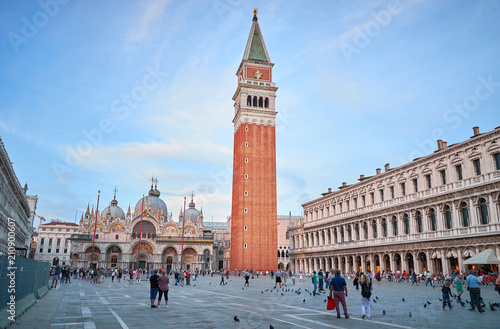 St. Mark's Square with Campanile at Sunset in Venice in Italy