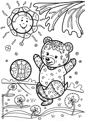 In de dag Cartoon draw Coloring for children. Doodle. The bear plays with a ball.
