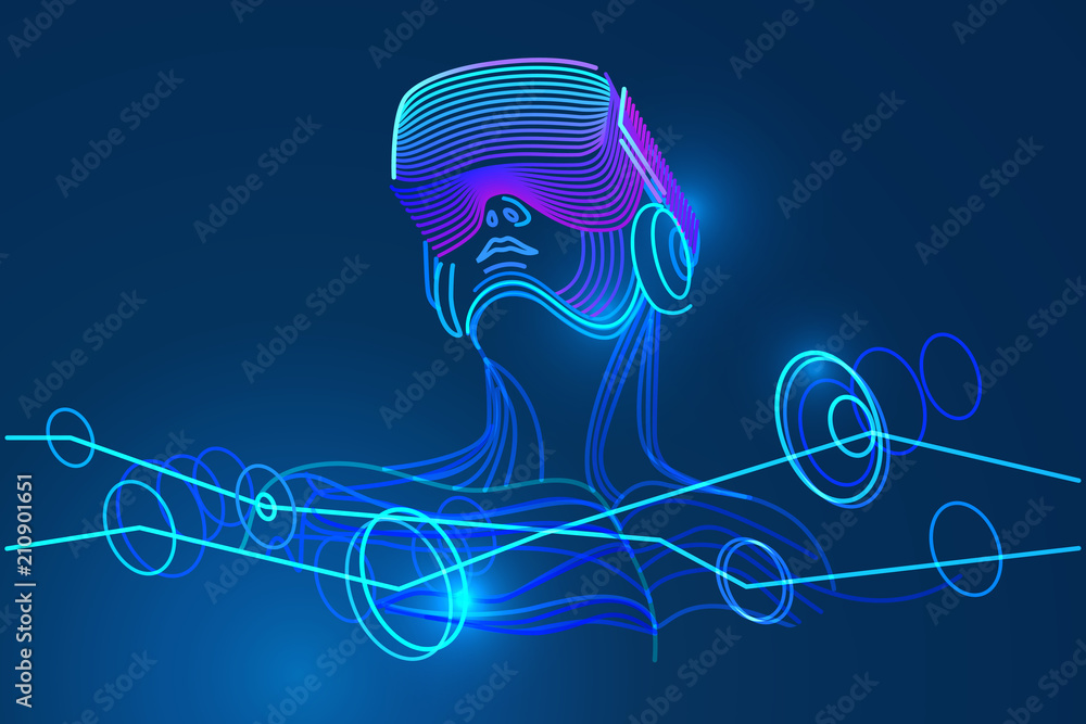 Fototapeta Man wearing virtual reality glasses. Amazing experience in abstract vr world. Vector illustration