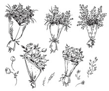 Set Of Hand Drawn Bouquets, Ve...